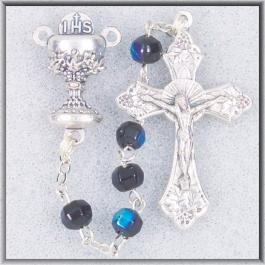First Communion Black Crystal Rosary