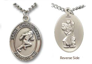St. Christopher Football Medal and Chain