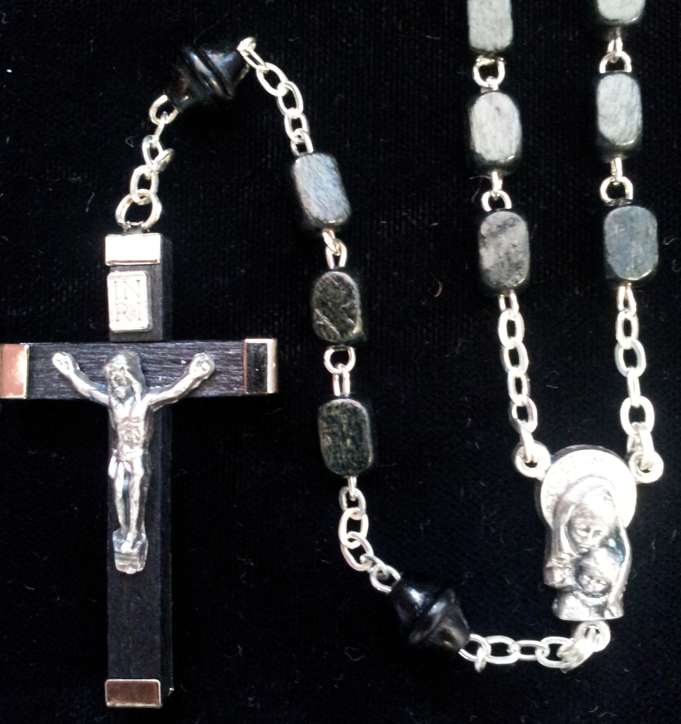 Black Rectangular Prism Shaped Wooden Rosary